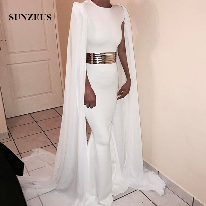 Sereia longo marfim vestidos formais com chiffon watteau trem boné mangas vestido de noite feminino elegante - 2