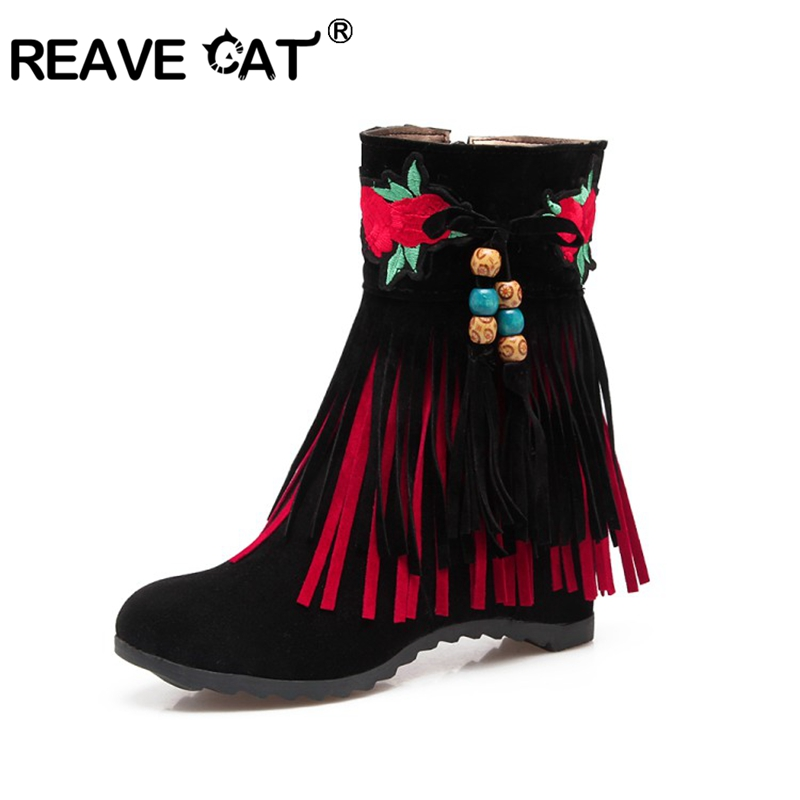 REAVE CAT Woman Wedges Ankle boots Ethnic Round toe Fringe Beads Zipper Flock Autumn winter Warm Female Red Black big size 43 image