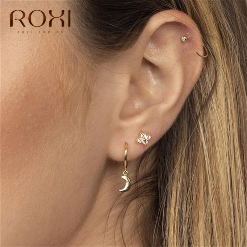 ROXI Boho Crescent Moon Earring 100% 925 Sterling Silver Moon Pendant Small Stud Earrings For Women Jewelry Female Ear Stud Gift
