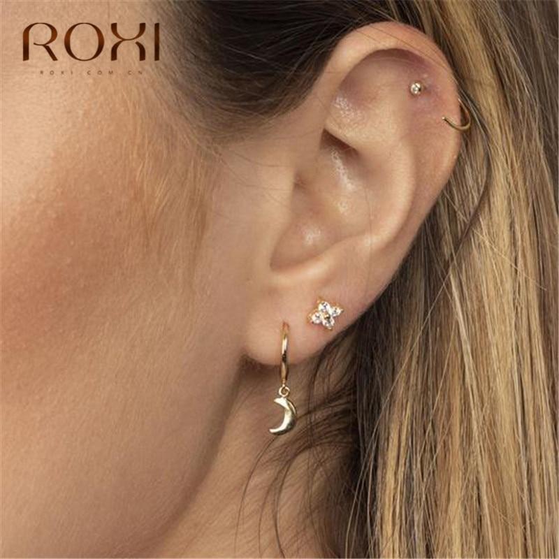 ROXI Boho Crescent Moon Earring 100% 925 Sterling Silver Moon Pendant Small Stud Earrings For Women Jewelry Female Ear Stud Gift