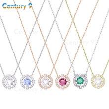 2020 bijoux fantaisie swa1: 1 exquise battante en forme de coeur dame clavicule chaîne ronde cristal pendentif breloque collier cadeau