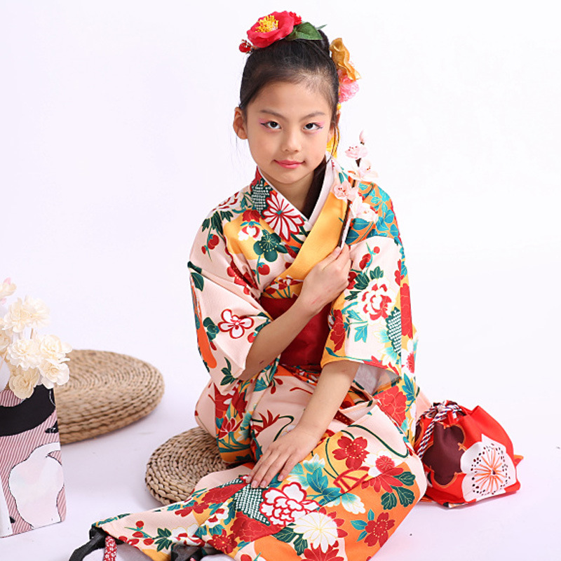 Kimono Traditional Japanese 5-12 Years Old Girls Children Yukata Print Flower Long Robe Kids Girl Halloween Cosplay Clothes