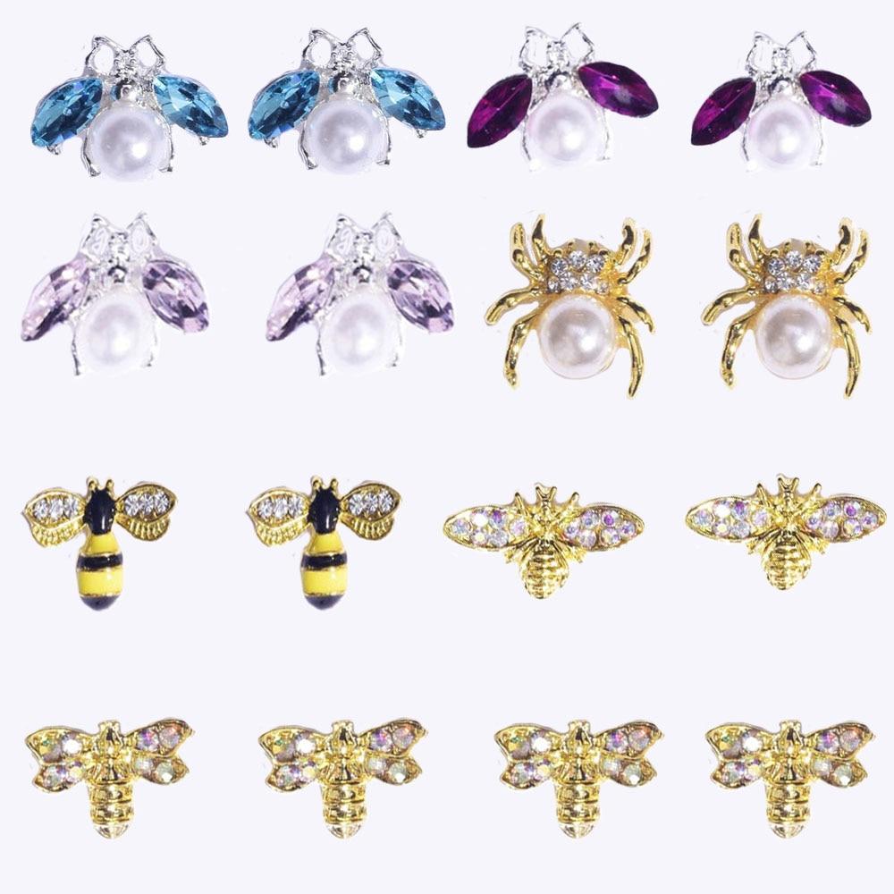 10 шт., золотые подвески с кубическим цирконием, 8 видов, настоящая позолота, латунь, стразы с изображением паука/пчелы, дизайн ногтей, золотые ...
