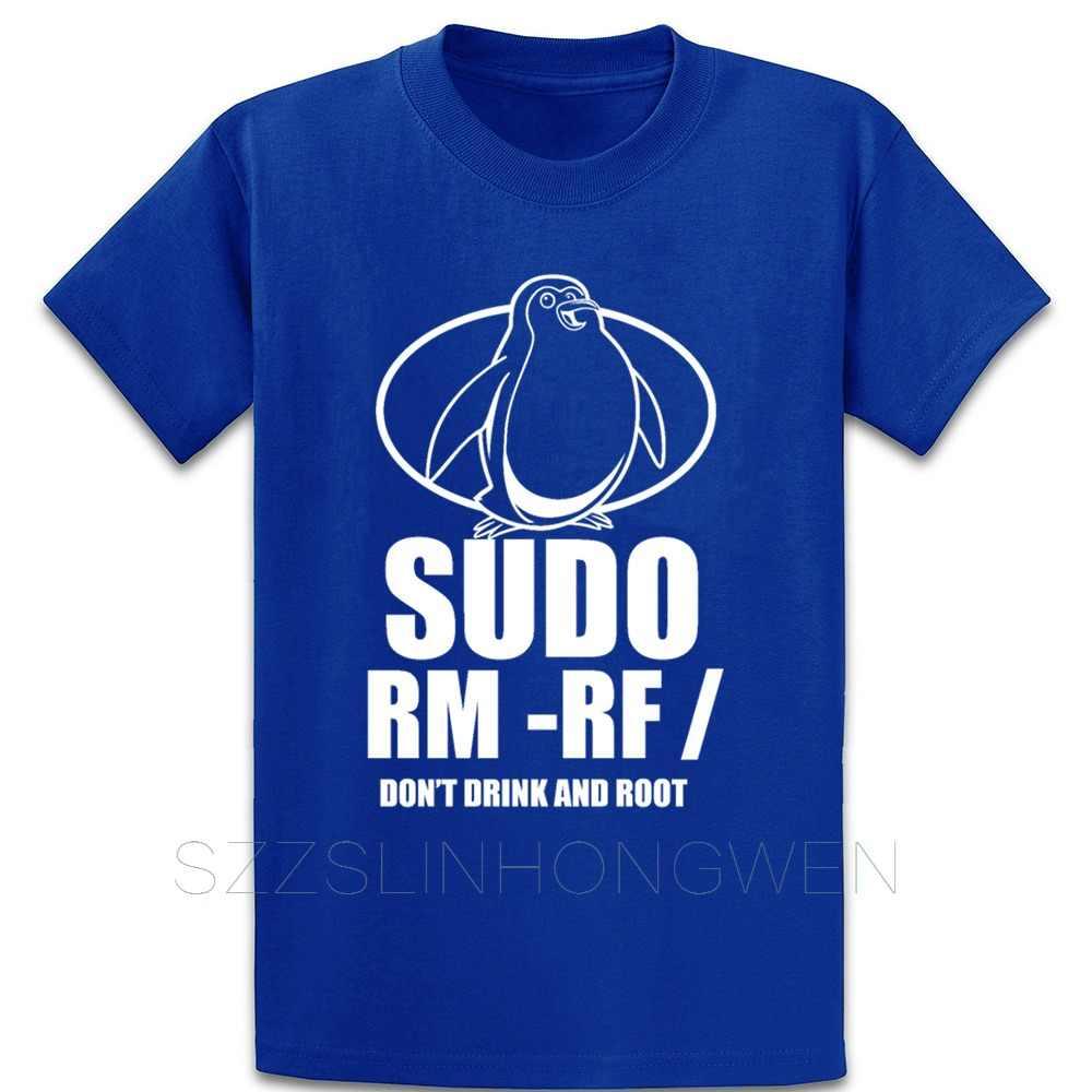 Sudo Rm Rf Tux Linux drôle codage boisson et racine t-shirt bâtiment col rond tricoté à manches courtes été chemise Standard