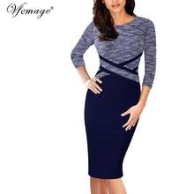 Vfemage Women Vintage Elegant Colorblock Contrast Color Patchwork Wear to Work vestidos Business Party Office Bodycon Dress 1998