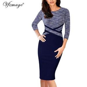 Image 1 - Vfemage vestido ajustado Vintage elegante para mujer, ropa de retazos de colores contrastantes para trabajar, fiesta de negocios, oficina, 1998