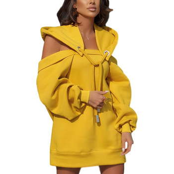 Autumn Winter Hoodie Dresses For Women Off-Shoulder Sweater Shirts Casual Oversize Vestidos Female Hoody Tops 9