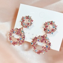 MENGJIQIAO Hot Sale Sweet Colorful Rhinestone Double Circle Drop Earrings For Women Girls Fashion Elegant Holiday Party Jewelry