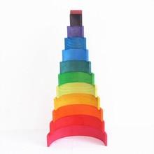 DROPSHIPPIN 12Pcs wooden rainbow blocks building For Kid Rainbow Building Blocks Montessori educational toy