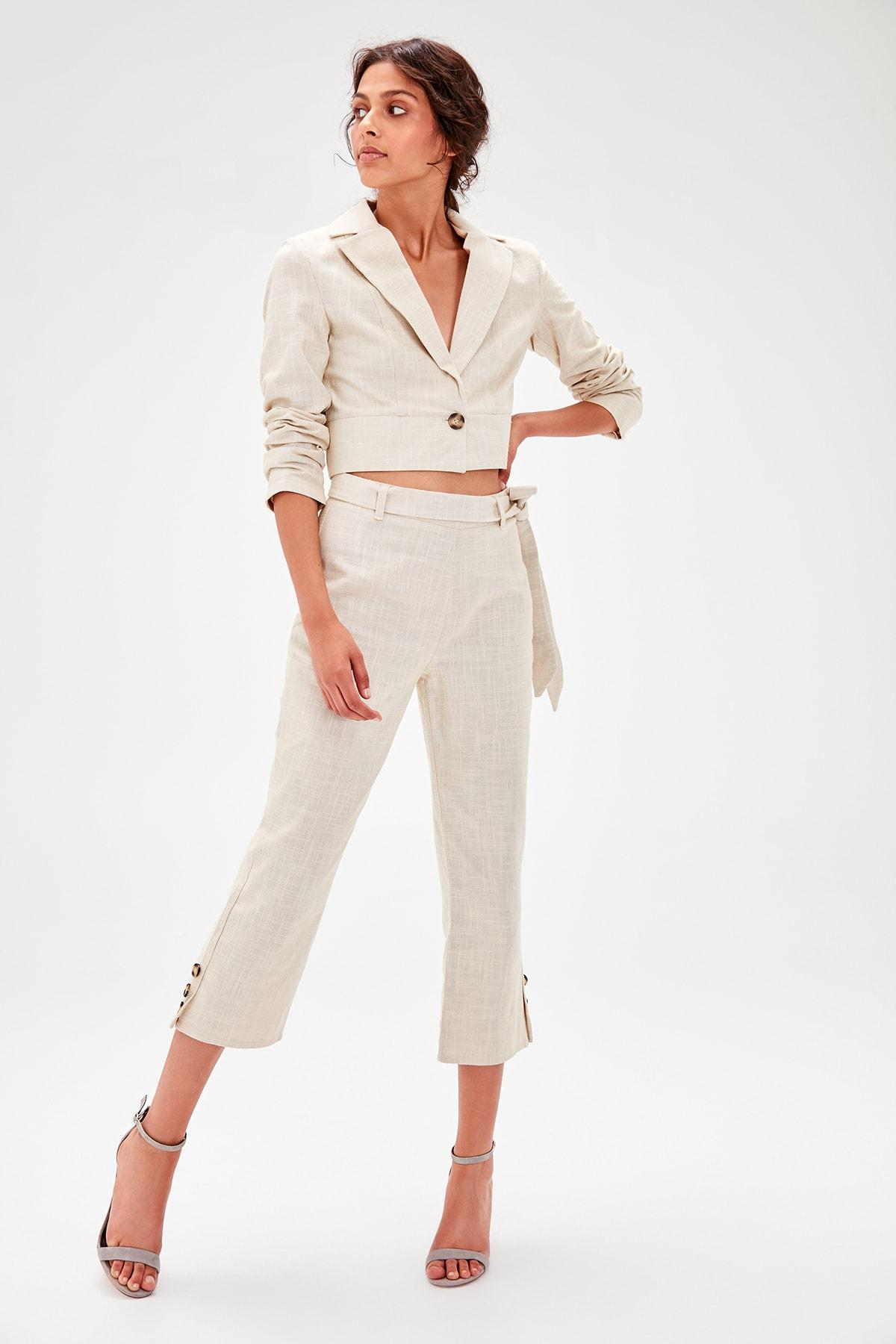 Trendyol Cream Binding Detaylı Pants TWOAW20PL0086
