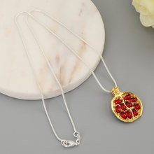Vintage Fruit Pomegranate Pendants Necklaces Red Garnet Natural Stone Necklace For Women Personality Jewelry Birthday Gifts(China)