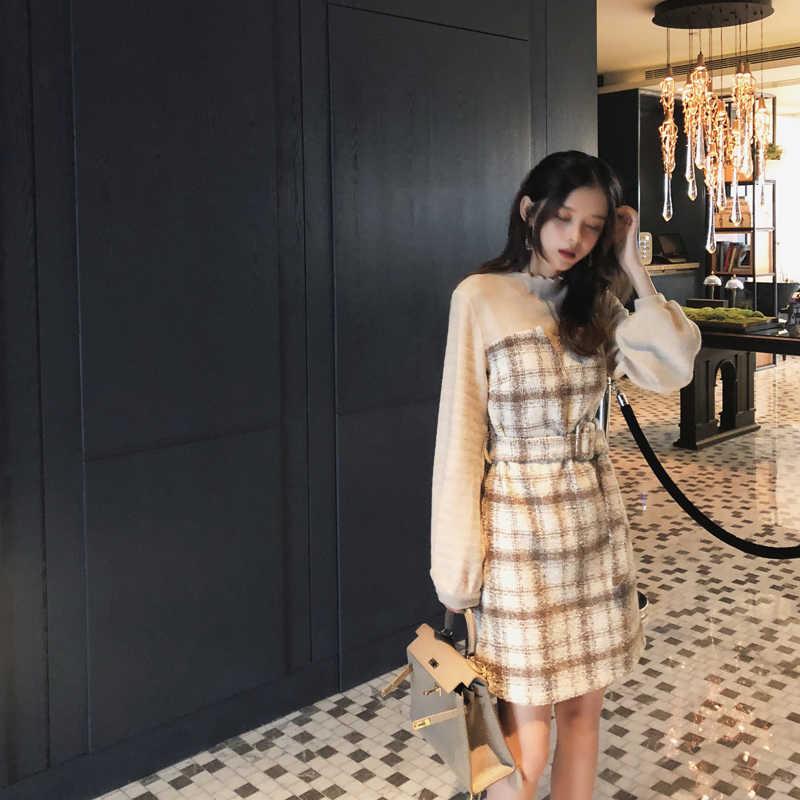 MISHOW 秋冬ヴィンテージドレス女性のための 2019 スリムフィットベルトチェック柄ランタンスリーブ気質の女性ショートドレス MX18D1495