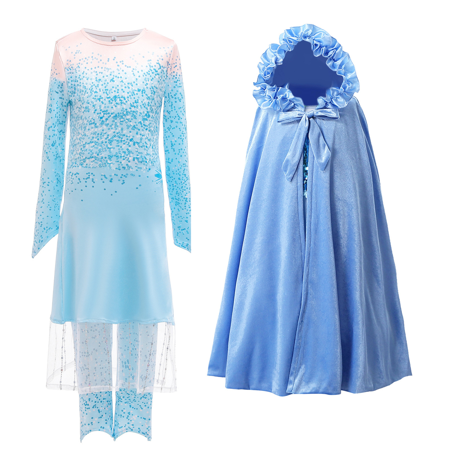 New Dress For Girls Clothing Frozen 2 Aisha Princess Set Christmas Cosplay Elsa Birthday Party Sky Blue Princess Dress 3-12 Year