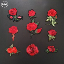 (DzIxY) 1 PCS Flowers parches Embroidered Iron on Patches for Clothing DIY Stripes Badges