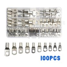 100PCS SC Tinned Copper Lug Ring Wire Connectors for Battery Bare Cable Electric Wire Connector Crimp Terminal Set
