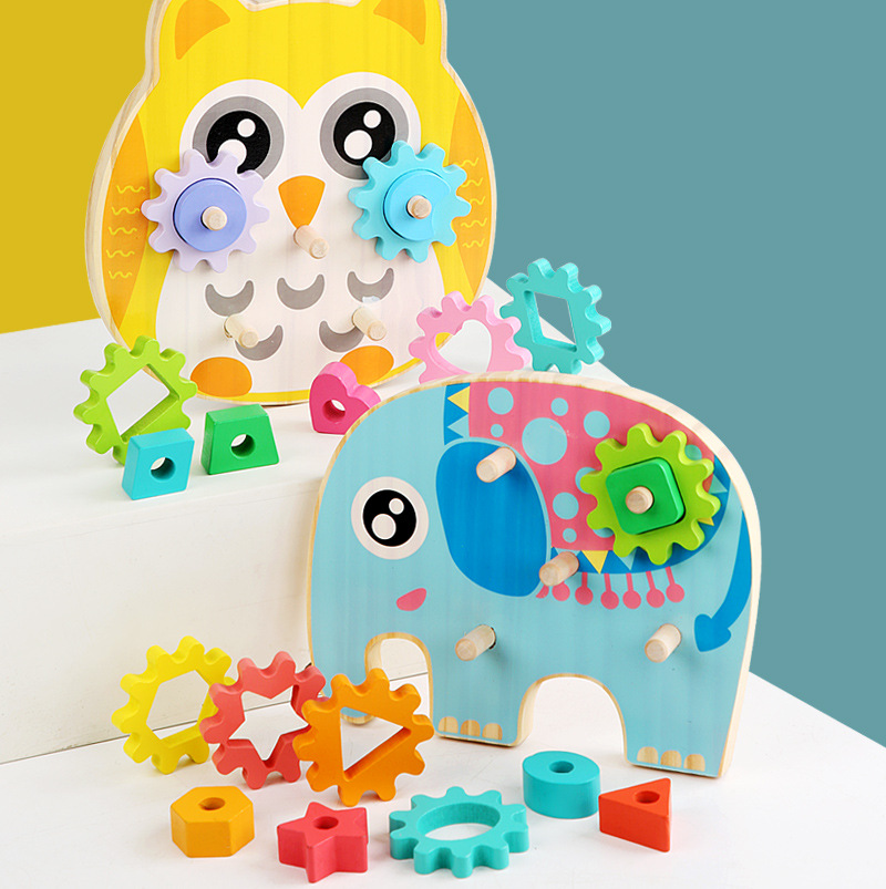 Children's Educational Toy Geometric Shape Matching and Inserting Column Wooden Building Blocks Gear Set Early Learning Toys