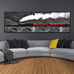 Красный поезд скандинавские длинные сцены постеры печати на холсте черный белый пейзаж стены искусства холст картины для гостиной домашни...