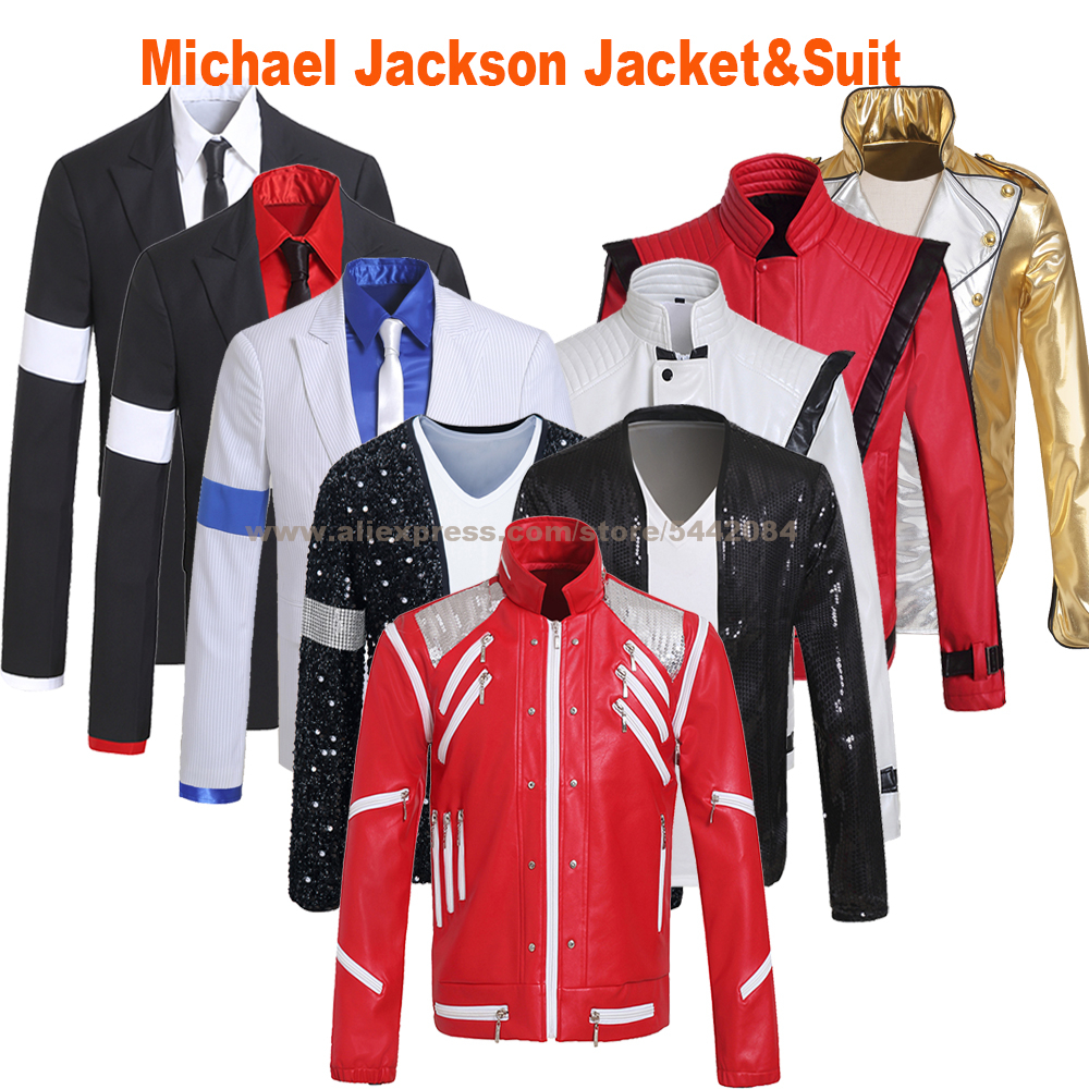 MJ Michael Jackson Jacket Suit Coat Beat IT Thriller Dangerous Billie Jean Smooth Criminal BAD Outerwear Cosplay Costume Prop