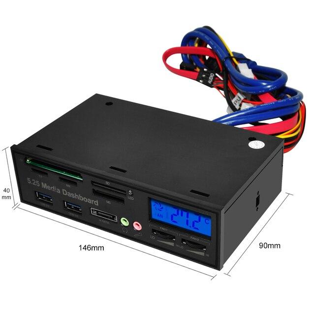 DeepFox Multifunctional USB 3.0 Front Panel 5.25'' Media Dashboard e-SATA MS CF TF SD Card Reader 3.5mm Earphone MIC Interface 4