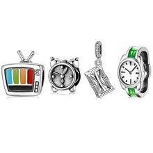 Good Time Green Enamel Watch Clock TV Shape 925 Sterling Silver Beads Charm for Jewelry Making Fit European Bracelets Bangles