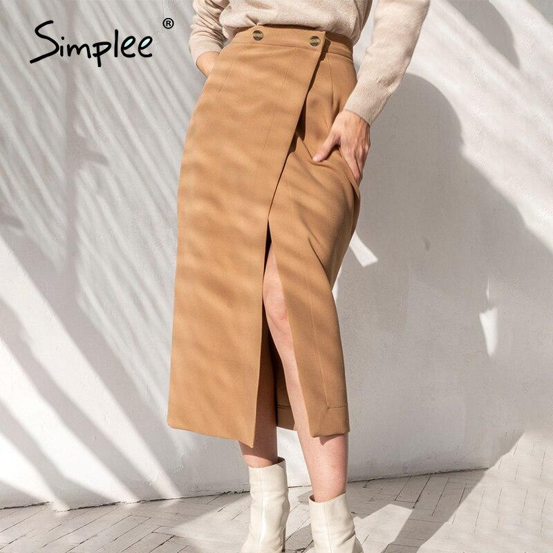 Simplee Sexy High Split Women Midi Skirt Elegant Office Ladies Bottom Skirt Casual Streetwear Chic Female Spring Skirt 2020