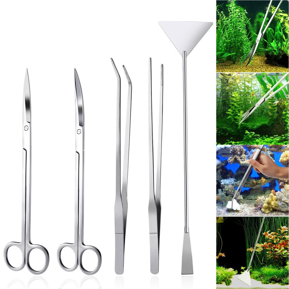"Image 5 - 6 PCS/lot 10"" Aquarium Cleaning Tools Aquascaping Landscaping Tool Kits Stainless Steel Aquatic Plants Scissors Tweezers Set-in Cleaning Tools from Home & Garden"