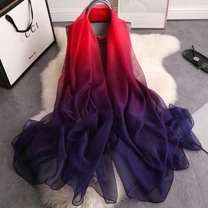 Image 1 - 2020summer silk scarf for women shawls and wraps fashion large size scarves pashmina beach stoles foulard lady echarpe hijabs