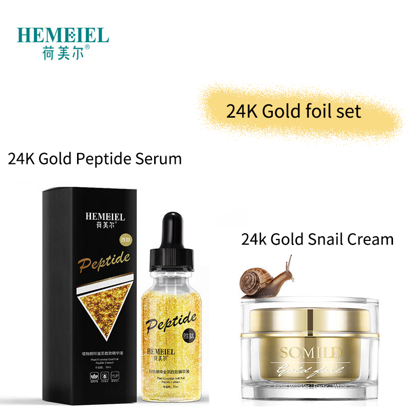 HEMEIEL Hyaluronic Acid Cream 24k Gold Snail Essence Face Cream Anti-Aging Moisturizer Nourish Collagen Peptide Serum Skin Care