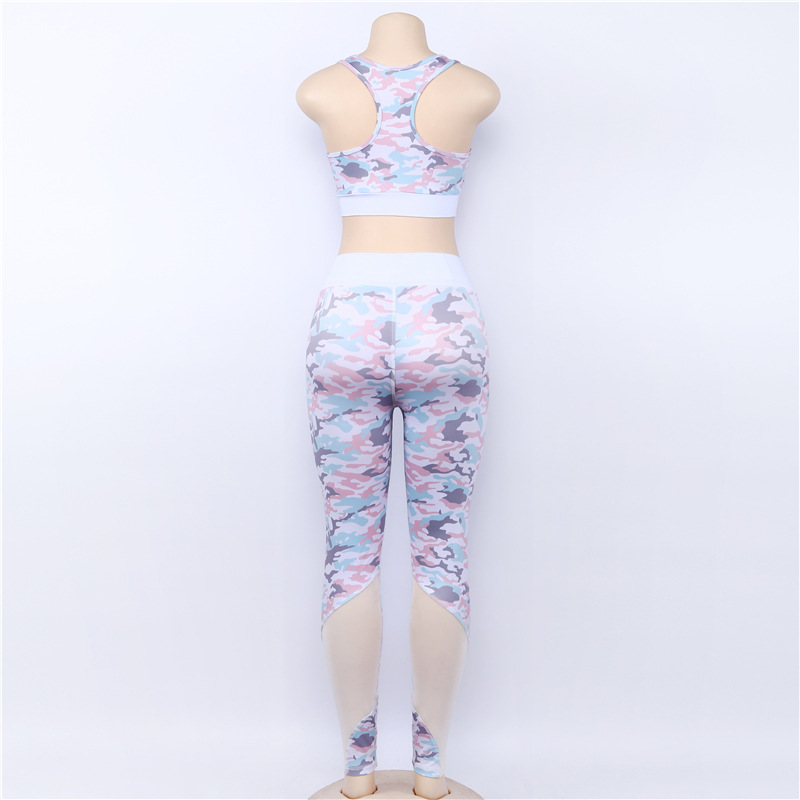 Camouflage Mesh Fitness Sport Suits Women Yoga Clothing Workout Sportswear Female Body suit Tracksuits Athletic Running Clothes