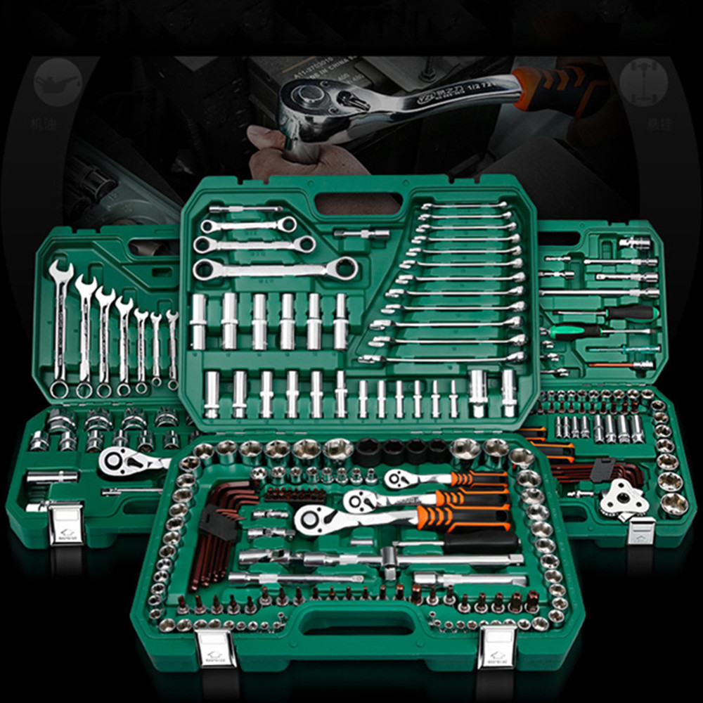New General Household Car AUTO Repair Tool Kit With Plastic Toolbox Storage Case Socket Ratchet Wrench Screwdriver Hand Tool Set