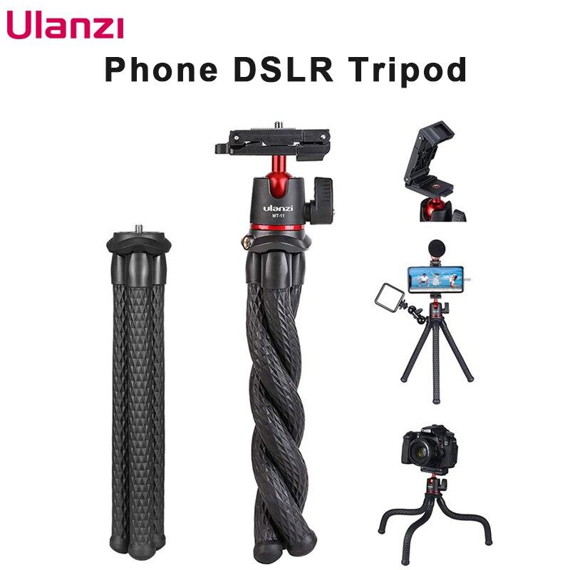 Ulanzi MT-11 viagem flexível polvo telefone móvel dslr tripé 2 em 1 clipe dobrável braço mágico liberação rápida placa
