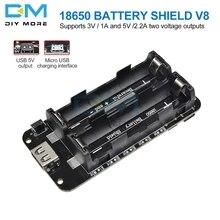 Два Напряжение 18650 литиевая Защита аккумулятора V8 мобильный Мощность плата расширения Модуль 5 V/3A 3 V/1A микро USB для Arduino ESP32 ESP8266
