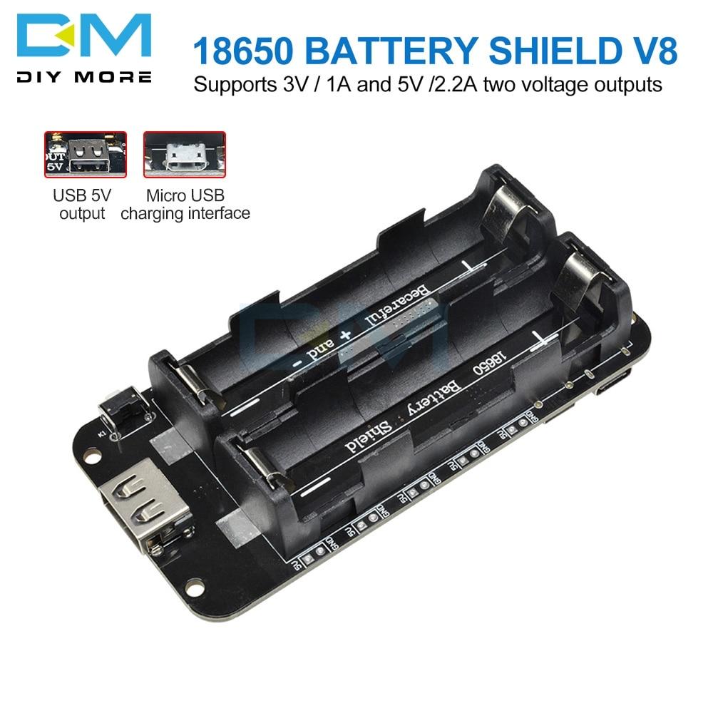 258.6руб. 9% СКИДКА|Два напряжения 18650 литиевая Защита аккумулятора V8 мобильный модуль расширения питания 5 V/3A 3 V/1A Micro USB для Arduino ESP32 ESP8266|Интегральные схемы| |  - AliExpress
