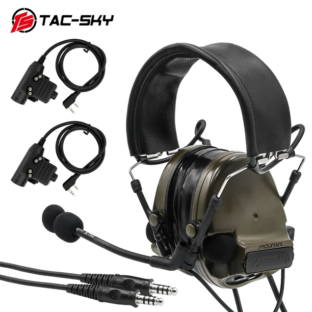 TAC-SKY COMTAC III Double Pass Silicone Earmuffs Tactical Headset With Two KENWOOD BAOFENG2 Needles Black U94 PTT-FG