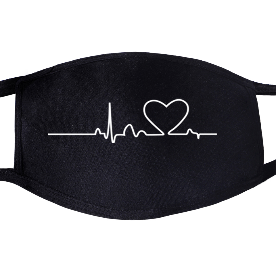 Love Mountain Heartbeat Sound Ray Diagram Face Masks Mouth Anti Dust Unisex Black Half Dustproof Facial  Cover Mask