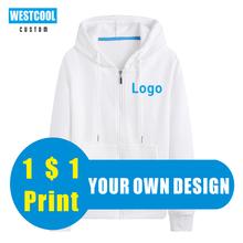 Zipper Sweatershirt Hoodie Custom Logo Autumn Winter Thick Tops Custom Sports Comfort Shirt Embroidery Pictures WESTCOOL 2020