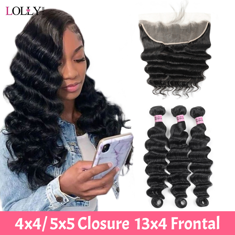 Loose Deep Wave Bundles With Closure Peruvian 100% Human Hair Bundles With Frontal Bundles With Frontal Non-Remy For Black Women