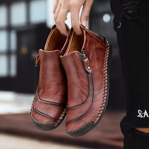 Image 4 - 2019 New Men Leather Boots Winter Snow Boots Warm Plush Leather Casual Shoes Plush Ankle Boots Fashion Winter Men Shoes Size 48