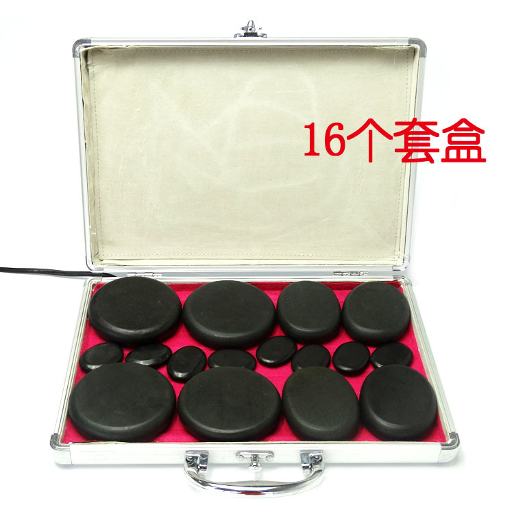 Health care energy stone volcano hot stone heating box Spa Essential Oil volcano massage artifact Massage Stone Set 16 pieces