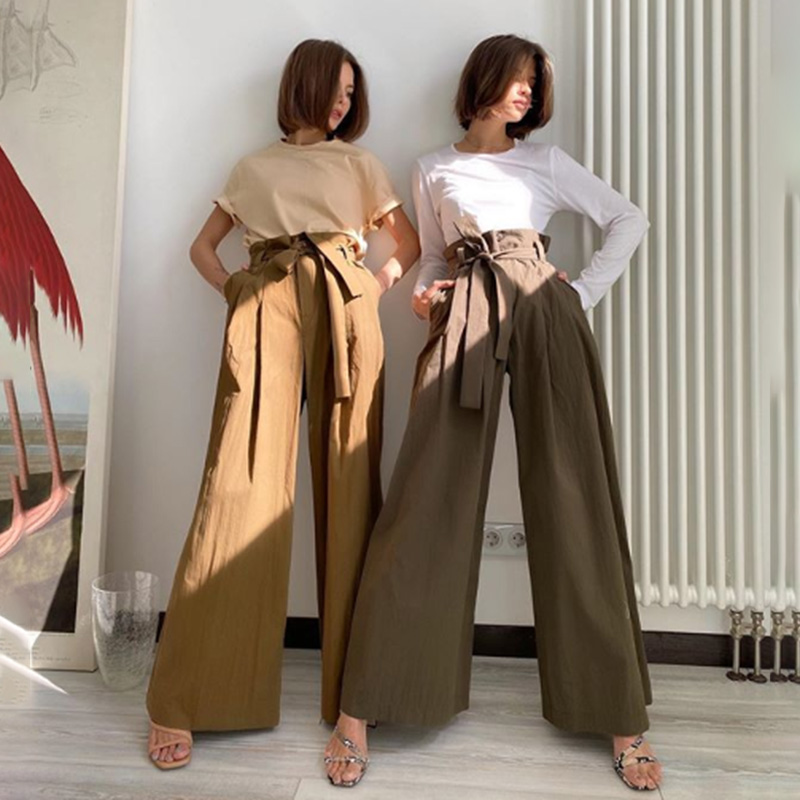 Casual Bow Tie Bandage Wide Leg Pants High Waist Solid Color Cotton Trousers Women Fashion Elegant 2020 Summer Loose