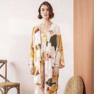 Image 3 - HOT SELLING Ladies Pajamas Set Comfort Loose 3Pcs Set Floral Printed Elegant Soft Homewear Femme Sleepwear For Spring And Autumn