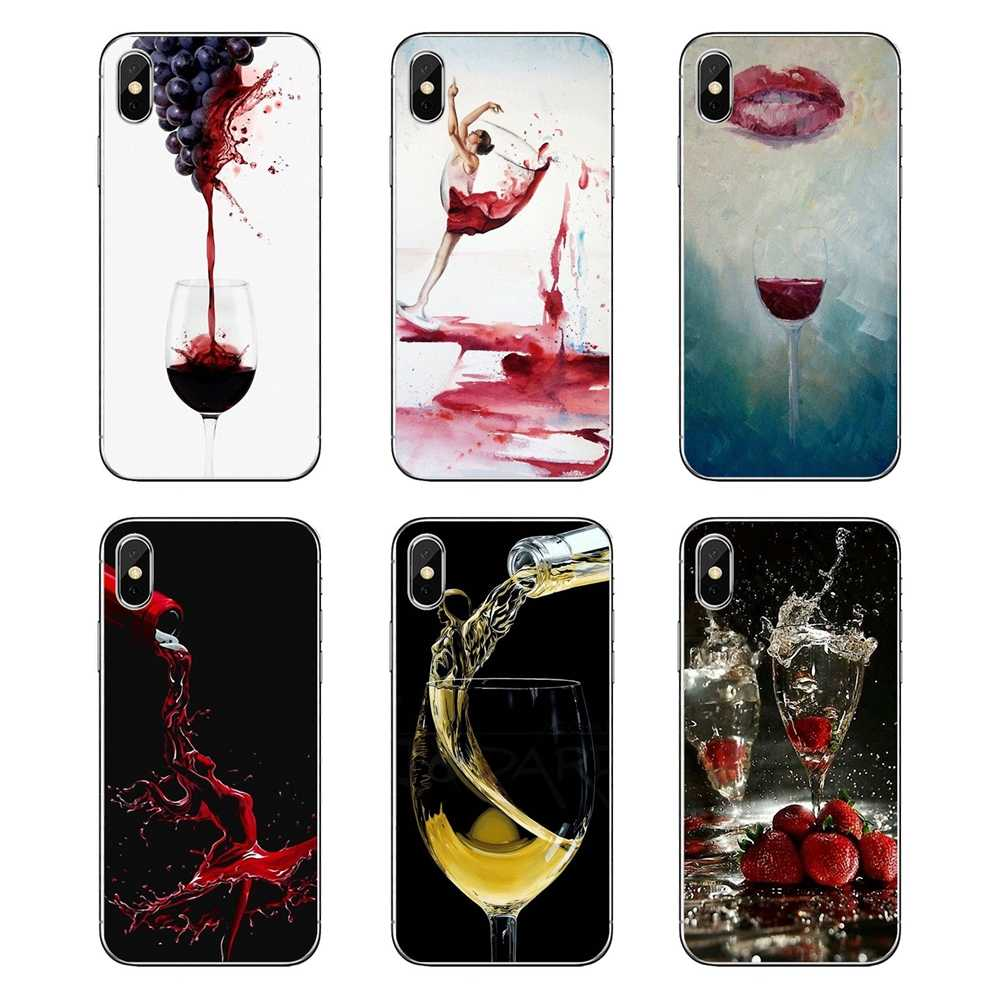 Untuk Samsung Galaxy Note 8 9 S9 S10 A8 A9 Star Lite Plus A6S A9S Wine Art Transparan Soft Shell mencakup