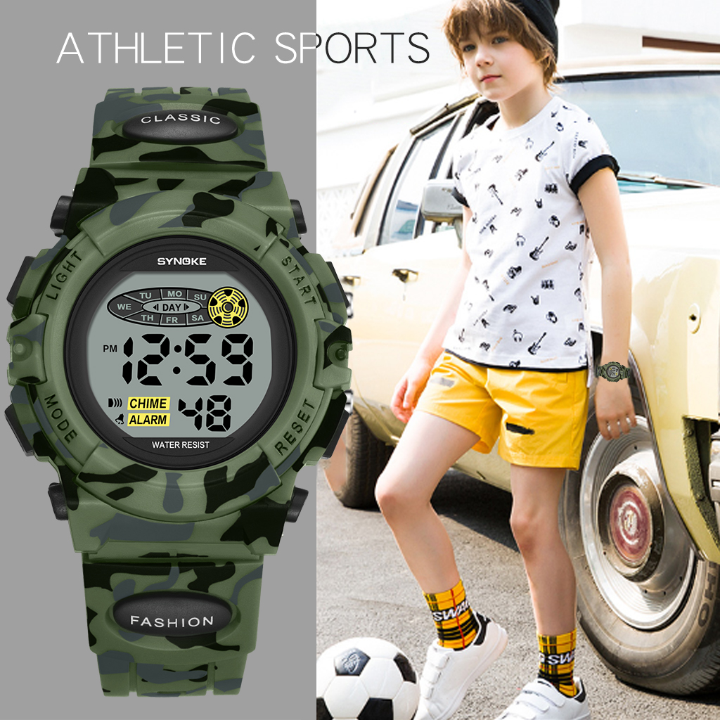 SYNOKE  Kids Watches For Kids Children Digital Sport Camouflage Military  Regalos Para Fiestas De Ninos Education Watch