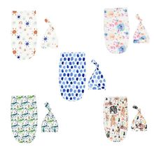 2Pcs Newborn Baby Swaddling Wrap Blanket Sleeping Bag Floral Tire Cap Outfit Set