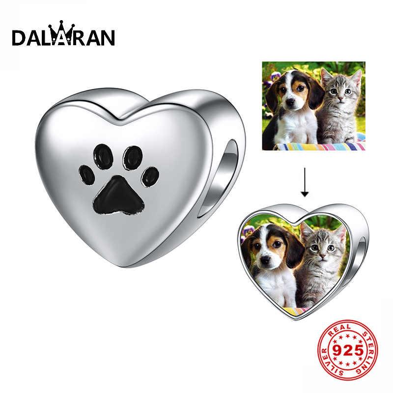DALARAN น่ารัก Dog PAW พิมพ์หัวใจสำหรับเครื่องประดับ 925 เงินสเตอร์ลิง Charm Fit สร้อยข้อมือ PANDORA สร้อยข้อมือ Fine Bijoux