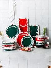 Dinner Plate Set Strawberry Seris Phnom Penh Ceramic Plate Dinnerware Set Under Glazed Dishes And Plat Set Kitchen Dishes