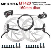 MEROCA-freno hidráulico para bicicleta de montaña MT420, freno de disco de 160mm, de cuatro pistones, delantero, derecho, izquierdo y trasero de 800 / 1400mm