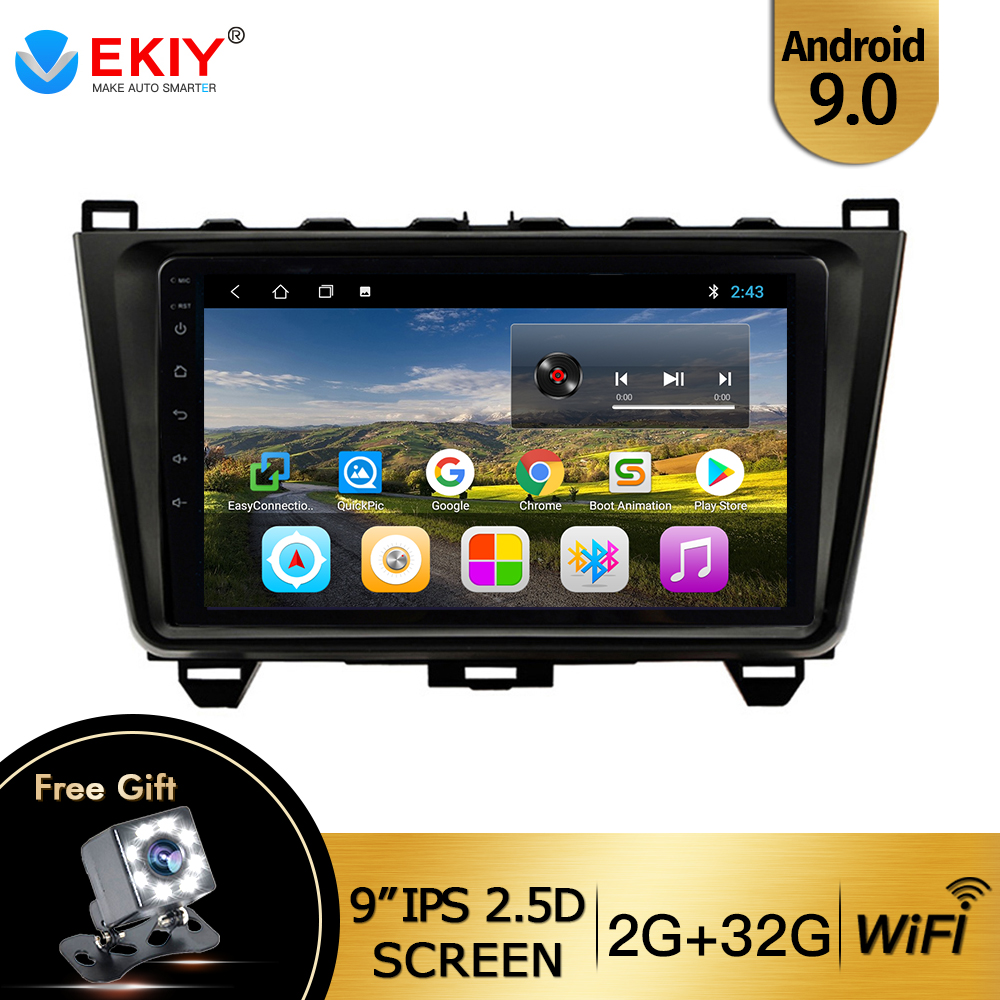 "EKIY 9"" IPS Android 9.0 Car Radio For <font><b>Mazda</b></font> <font><b>6</b></font> GH 2008-2015 Multimedia Player Quad Core DVD <font><b>GPS</b></font> <font><b>Navigation</b></font> Wifi BT DAB+ No 2 Din image"