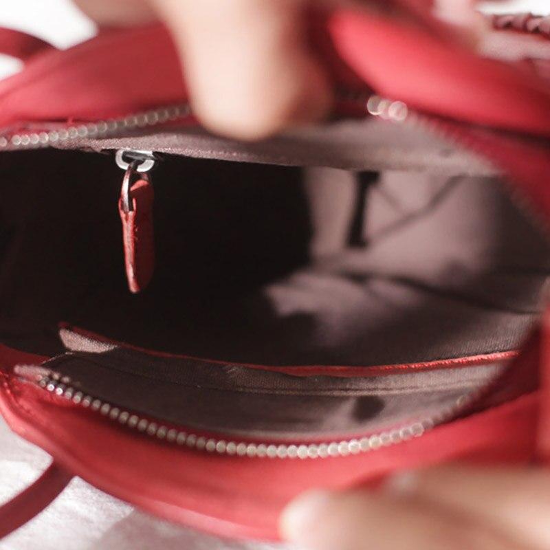 Bolso redondo de cuero rojo de EUMOAN, bolso con diseño oblicuo para mujer, 2019 retro literario stream su pequeño bolso redondo - 5
