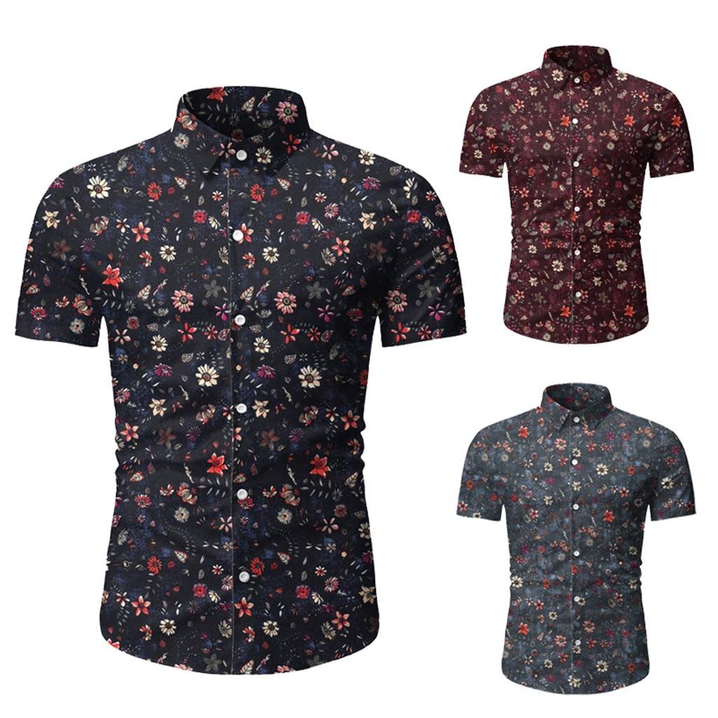 Men Casual Summer Printed Button Short Sleeve Hawaiian T-Shirt Top Blouse  Button Pocket Shirts M-3XL Camisa Masculina Camisas H